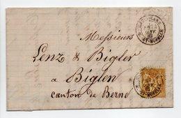 - Lettre NANCY Pour BIGLEN 24 JANV 1882 - 25 C. Bistre S. Jaune Type Sage II - - Postmark Collection (Covers)