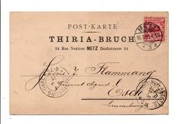 ALSACE LORRAINE CARTE DE METZ POUR LE LUXEMBOURG 1895 - Elsass-Lothringen