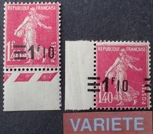 R1189/418 - 1926/1927 - TYPE SEMEUSE CAMEE - N°228 + 228f TIMBRES NEUFS** BdF - VARIETE ➤➤➤ Surcharge à Cheval - Variétés Et Curiosités