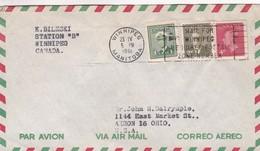 CANADA AIRMAIL CIRCULATED 1961. WINNIPEG TO AKRON, OHIO, U.S.A. -LILHU - 1952-.... Regno Di Elizabeth II