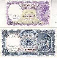 EGYPT 5 10 PT. PIASTRES 1952 P-174a 175a SIG/Kaissony Water Mrk PYRAMIDS SET UNC - Egypt