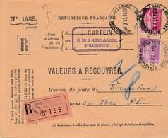 Env Reco Affr Y&T 281 + 289 STRASBOURG PL. DE LA GARE Du 30.7.37 VALEURS A RECOUVRER à Wasselonne - Marcophilie (Lettres)