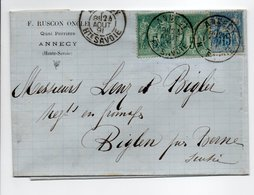 - Lettre RUSCON ONCLE, ANNECY Pour BIGLEN (Suisse) 24 AOUT 1891 - Bel Affranchissement Type Sage - - Marcophilie (Lettres)