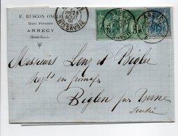 - Lettre RUSCON ONCLE, ANNECY Pour BIGLEN (Suisse) 24 AOUT 1891 - Bel Affranchissement Type Sage - - 1877-1920: Periodo Semi Moderno