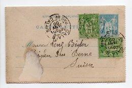 - CARTE-LETTRE CALAIS Pour BIGLEN (Suisse) 20 JANV 1900 - 15 C. Bleu + 2 X 5 C. Vert-jaune Type Sage I - - Entiers Postaux