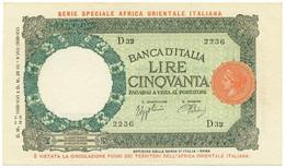 50 LIRE CAPRANESI AFRICA ORIENTALE ITALIANA AOI 12/09/1938 QFDS - [ 6] Colonie