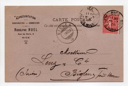 - CARTE POSTALE REPRÉSENTATION RODOLPHE RUEL, NICE Pour BIGLEN (Suisse) 31.7.1906 - 10 C. Rose Type Semeuse Lignée - - France