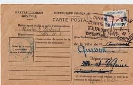 Carte De Ravitaillement, Mairie De DINAN (Côtes Du Nord) - Cachet à Date Du 24 Avril 1947 + Flamme D'oblitération - Marcophilie (Lettres)