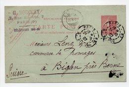 - CARTE POSTALE G. BOUCLEY, PARIS Pour BIGLEN (Suisse) 24.10.1907 - 10 C. Rose Type Semeuse Lignée - - Postal Stamped Stationery