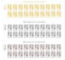 3 Hauts De Feuille De 20 Timbres Type Marianne De La Jeunesse Adhésifs Entreprises N° 847-848-849 (Yvert) - France 2015 - 2013-... Marianne De Ciappa-Kawena