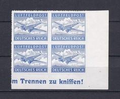 Deutsches Reich - Feldpostmarken -  1942/43- Michel Nr. 1 B - Eckrandviererblock - Postfrisch - Unused Stamps