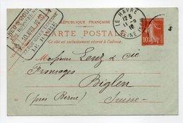 - CARTE POSTALE LE HAVRE Pour BIGLEN (Suisse) 11.5.1910 - 10 C. Rouge Semeuse Camée - - Cartoline Postali E Su Commissione Privata TSC (ante 1995)