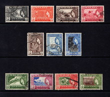 PENHANG    1957    Q E II    Set  Of  11   $2 Paper On Reverse Hence Price      USED  And MNH - Penang