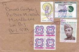 PAKISTAN ENVELOPE CIRCULATED 2001. LAHORE TO LA PAZ, BOLIVIA. MIXED STAMPS, BLOC DE QUATRE. -LILHU - Pakistan