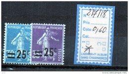 FRANCE A CHARNIERE * 217/18 - 1906-38 Semeuse Con Cameo