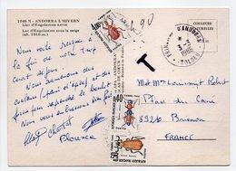 - CARTE POSTALE PRINCIPAUTÉ D'ANDORRE Pour BRIENON (Yonne) 3.3.1986 - TAXÉE 4,90 FF Types Insectes - - Taxes