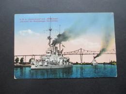 DR 1914 Feldpost Helgoland Kaiserliche Marine Briefstempel S.M.S. Grosser Kurfürst über Wilhelshaven Nach Frankfurt - Germany