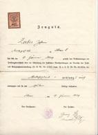 Dokument 1929, Zeugnis Verkehrsdienstprüfung Der Post, 1,5 Schilling Stempelmarke, Dokument Gefaltet - Historische Dokumente