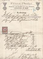 Rechnung 1914 Der Fa.Franz Pfeifer, Leichenbestattung, 10 Heller Stempelmarke, Dokument Gefaltet, Starke Gebrauchsspuren - Historische Dokumente