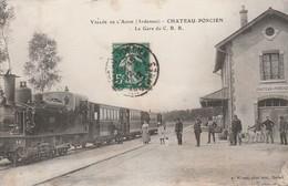 CPA:TRAIN EN GARE DU C.B.R. CHATEAU PORCIEN (51)..ÉCRITE - Chateau Porcien