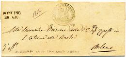 1856  PREFILATELICA SONCINO LINEARE NERO + CHIESA SAN GIOVANNI BATTISTA E BIAGIO - 1. ...-1850 Prefilatelia
