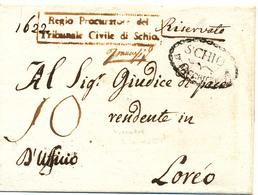 PREFILATELICA SCHIO D BACCHIGLIONE OVALE NERO TASSA 10 PER LOREO - 1. ...-1850 Prefilatelia
