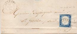 """FRANCE : N° 12 SARDAIGNE . OBL . """" SEYSSEL """" . AB . 1859 . - 1849-1876: Periodo Clásico"""