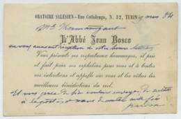 Carte De Visite De Saint Jean Bosco écrite Le 9 Mars 1884 . Oratoire Salésien De Turin . Catholicisme . - Autographes