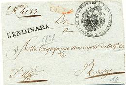 1828  PREFILATELICA LENDINARA LINEARE NERO - 1. ...-1850 Prefilatelia