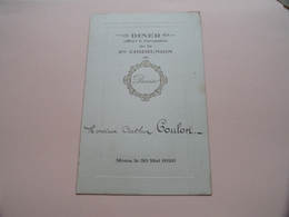 DINER Offert à L'occasion De La 1re Communion De DENISE > Monsieur Arthur COULON > MONS Le 30 Mai 1926 ( Zie Foto ) ! - Menus