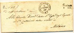 1859  PREFILATELICA GAVIRATE CORSIVO NERO CON DATA +PARROCCHIA DI SANTO STEFANO CAPO PIEVE - 1. ...-1850 Prefilatelia