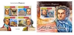 Maldives 2019 Composers Handel Beethoven Weber Mendelssohn MS+S/S MLD190806a - Famous People