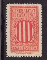 SPAGNA - 19?? - GENERALITAT DE CATALUNYA - Una Pesseta - Singolo S.G. - Cat. ? € - L 1155 - Spanish Civil War Labels