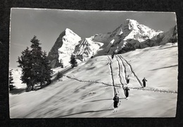 Mürren Skifahrer/ Eiger Und Mönch/ Photo Gyger Adelboden - BE Berne