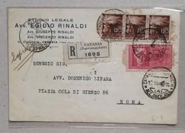 Cartolina Raccomandata Catania-Roma - 12/11/1945 Repubbblica+Luogotenenza - Storia Postale