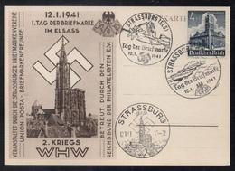 STRASBOURG - ALSACE - III REICH - OCCUPATION / 1941 - 3 OBLITERATIONS DE PROPAGANDE DIFFERENTES SUR CARTE (ref 1386d) - Germany