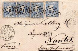 27 MEI 72  Paar  NVPH 7  + 2 Losse Exemplaren Op Enveloppe Van Rotterdam Naar Nantes - Covers & Documents