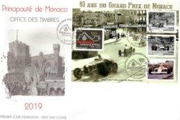 90 Ans Du Grand Prix De Monaco  -  Bugatti-Lotus-McLaren - Monaco 4v FDC Envelope Premier Jour - Automobile