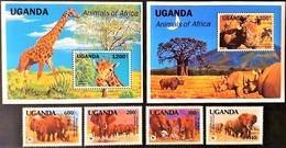 # Uganda 1991**Mi.960-65  Animals Of Africa , MNH [20;26-27] - Briefmarken