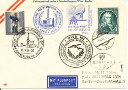 Austria Cover FDC 4-8-1954 And Special Flight Wien - Berlin 4-8-1954 With More Special Postmarks - FDC