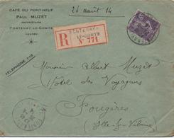 LETTRE RECOMMANDEE  DEPART  FONTENAY LE COMTE  CACHET  1914 - Marcophilie (Lettres)