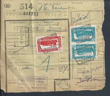 BELGIQUE DOCUMENT SUR TIMBRES CHEMIN DE FER TAMPON TIENEN ( TIRLEMONT ) TAMPON WETTERRANIA  : - Railway