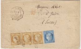 Ceres N° 55 Et 60 Obl Etoile Paris 1872 Sur Lettre En LEVEE EXCEPTIONELLE Pour La SUISSE , Poste Restante En Transit ? - Poststempel (Briefe)