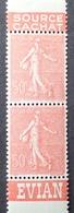 """R1189/428 - 1926 - TYPE SEMEUSE FOND LIGNE - PAIRE VERTICALE - N°199 TIMBRES NEUFS** BdF """" EVIAN / SOURCE CACHAT """" - Publicités"""