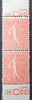 """R1189/429 - 1926 - TYPE SEMEUSE FOND LIGNE - PAIRE VERTICALE - N°199 TIMBRES NEUFS** BdF """" LAME / LE COQ """" """" - Publicités"""
