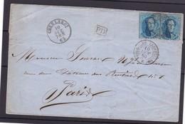 N° 15 Ou 15 A (2 )  / LETTRE OBLITERATION NON REGLEMENTAIRE De Charleroi  Vers PARIS 10 Oct 1863  Lsc - 1863-1864 Médaillons (13/16)