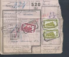 BELGIQUE DOCUMENT SUR TIMBRES CHEMIN DE FER TIENEN TIRLEMONT  X PATURAGES X MONS X EXPÉDITEUR LA BONNERIE  : - Railway