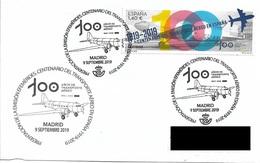 SPAIN. POSTMARK CENTENARY OF AIR TRANSPORT IN SPAIN. AIRPLANE. 2019 - Spagna
