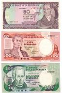 Colombia Lot 3 Banknotes UNC .CV. - Colombie