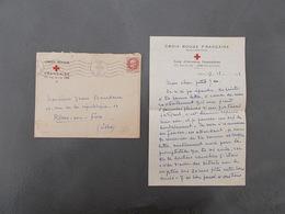 GUERRE 39/45.ENVELOPPE AVEC COURRIER.CACHET LENS.TYPE PETAIN.ANNEE 1943.CROIX ROUGE ECOLE INFIRMIERE - Guerre Mondiale (Seconde)